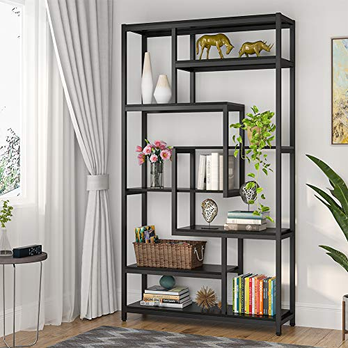 Tribesigns 8-Shelves Staggered Bookshelf, Rustic Industrial Etagere Bookcase for Office, Vintage Book Shelves Display Shelf Organizer for Home Garden (Black)