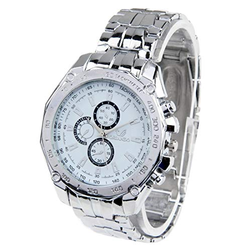 Uhren Rundes Zifferblatt 3 Dekoration Dials-Mann-Quarz-Uhr mit Metallband (schwarz) Asun (Color : White)