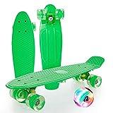 Skateboards,22 Pulgadas Pequeña Junta de Pescado Mini Completo Penny Board Pu Flash Rueda Rodamientos de Cuatro Ruedas Scooter Para Niños,Adolescentes Adultos Principiantes Regalo de Cumpleaños,Verde