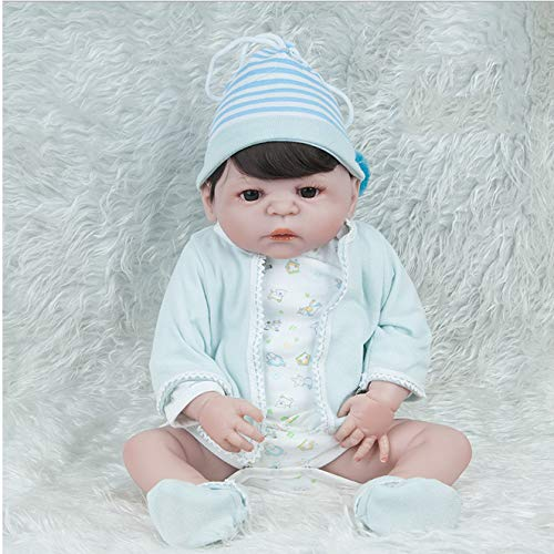 YAHAO 22-Zoll Lebensgroße Simulation Reborn Doll 57 cm Simulation Neugeborenes Baby Puppe Junge Funktionale Baby Puppe Spielzeug
