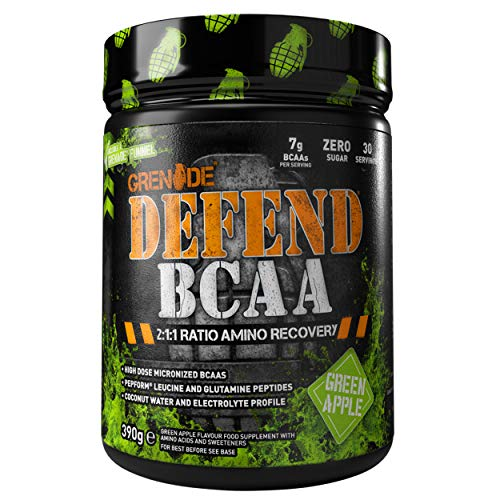 Grenade Defend BCAA Powder, Green Apple, 390 g (7 g BCAA's Per Serving - 30 Servings Per Tub)
