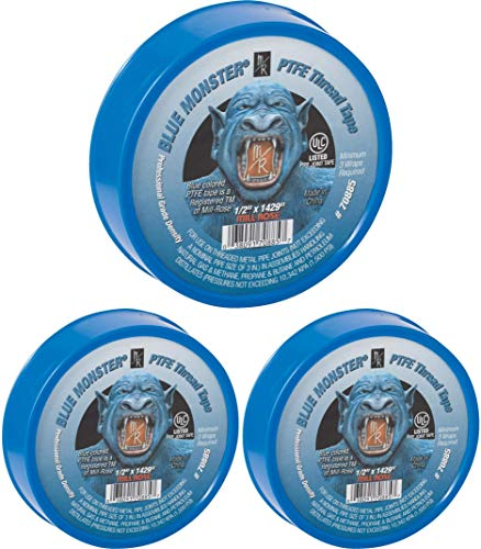 Millrose Blue 70885 Monster PTFE Pipe Thread Sealant Tape, 1/2-Inch x 1429-Inches, 3 Count