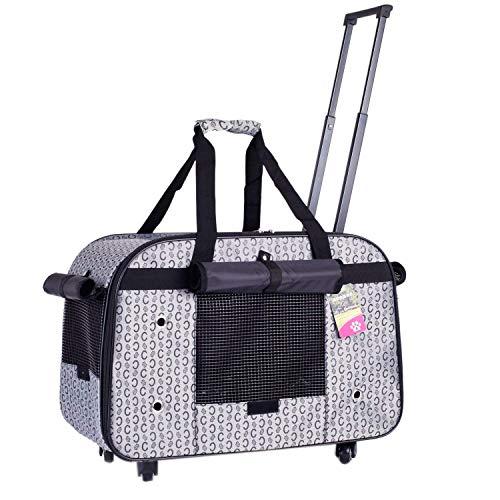 FTBKXFL Groß Trolley Hundetrolley für Hund bis 11kg oder 2 kleine Hunde Hundebox Katzenbox Transportbox Hundewagen