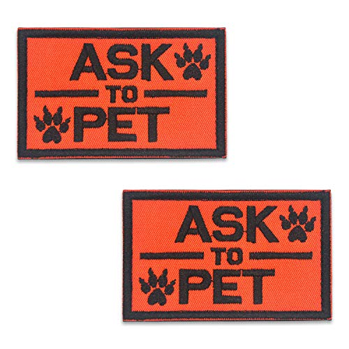 2 Pack Ask to Pet Reflective Light in The Dark for Hook and Loop Patches Vests and Harnesses for Dogs, Puppy,Pets by Elutong