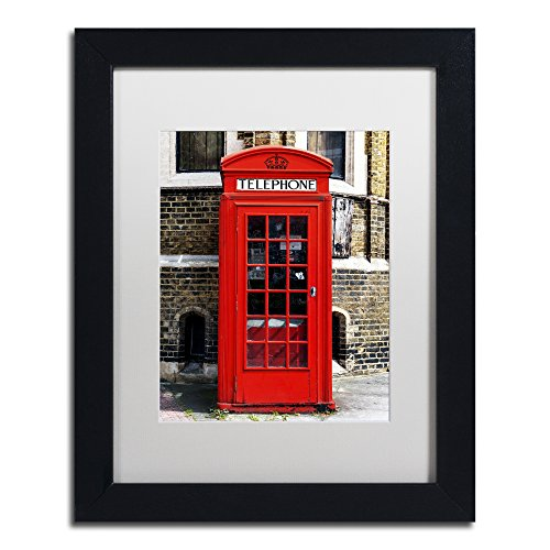 English Phone Booth London by Philippe Hugonnard, White Matte, Black Frame 11x14-Inch