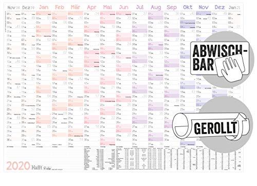 Abwischbarer Wandkalender 2020 groß: 89 cm x 63 cm (größer als A1), gerollt| 15 Monate: Nov 2019 - Jan 2021 [Pastell] Wandplaner mit Ferien- und Feiertage-Übersicht, FSC®-Papier