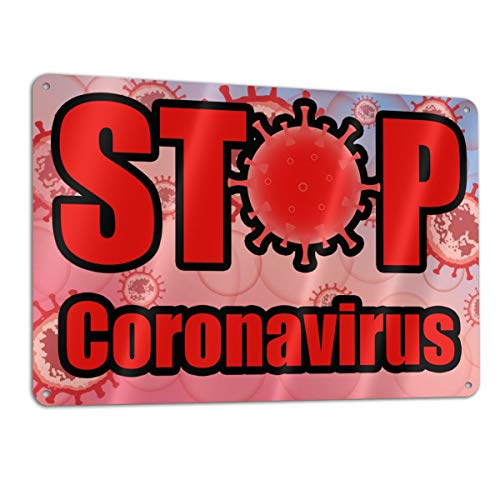 SD3DPrint Stop Coronavirus Señal metálica de aluminio de 30,5 x 20,3 cm
