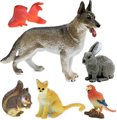 Click N  Play Pet Animal Figurine Playset  Assorted 6Piece Realistically Designed Domestic Home Pet Plastic Animals for Kids & Toddlers