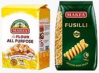 パスタ オールパーパスフラワー セット (ブロンズダイス フジッリ500g×2、1Kg袋小麦粉×2)ハラル コーシャー Pasta & All Purpose Flour set ( 2 of Bronze die Fusilli pasta 500 gr / 2 of 1 kg flour) Halal & Kosher Non-GMO