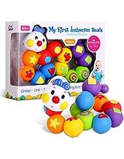 Bemixc 積み木 13pcs 赤ちゃんおもちゃ 新生児出産祝い 女の子 男の子 誕生日プレゼント 立体パズル 組み立て 早期開発 教具 嵌め込みケムシ 0歳1歳 2歳? 想像力を育つ知育玩具