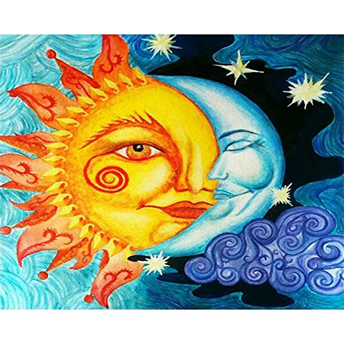 DIY Oil Painting (Half Sun Half Moon) Crafts Paint by Number Kit for Kids Adults Beginner 16x20 inch Drawing with Brushes Decor Decorations Gifts //