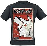 Pokemon Pikachu - Poster Hombre Camiseta Negro L, 100% algodón, Regular