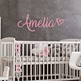 BATTOO Fancy Personalized Custom Name Vinyl Wall Art Decal Sticker 40' w, Girl Name Decal, Girls Name, Nursery Name, Girls Name Decor, Girls Bedroom Decor Plus Free Hello Door Decal, Soft Pink
