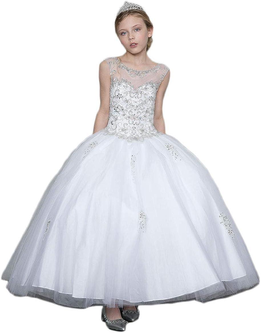 Gigi's Classy Kids White First Communion Long Dress Flower Girls Beaded Ball Gown Wedding Party Fancy