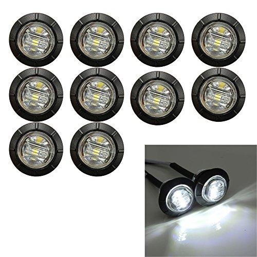 Ricoy - Luz LED redonda de 3/4 pulgadas para marcador delantero y trasero, impermeable, 12 V, para coche o camión (Blanco)