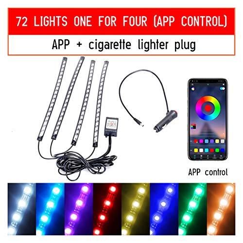 RJJX Conducido pie del Coche de luz Ambiental con Enchufe USB Luces Atmósfera de luz de Fondo Música aplicación de Control RGB Auto Decorativos de Interiores (Emitting Color : 72LED Cigar App)