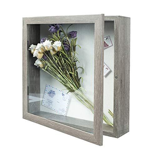 Muzilife 3D Holz Bilderrahmen mit Öffnung zum Befüllen 28x28cm Objektrahmen mit Stecknadeln und Dübel für DIY Display Shadow Box Ostern Geschenk für Familie Freunde Büro oder Muttertag Grau