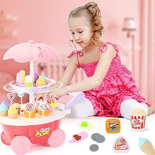 MHCYKJ Fingido Juego Juguete para niñas, fingido vajilla de 360 Grados rotación Helado Carrito 35pcs Play Food Kitchen Toys para niño Realista Candy Helado de Helado Juguete