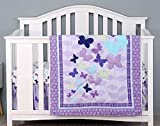 Wowelife Purple 4 Piece Butterfly Crib Bedding Set Baby Girl Nursery Bedding Set with 2 Fitted Sheet(Purple)