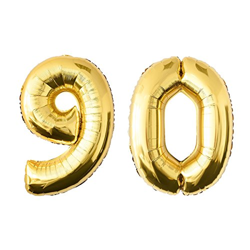 NUOLUX 40 Inch Gold Foil Balloon,Jumbo Number 90th Balloon for Festival Birthday Anniversary Party Decorations Photo Props