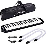 CAHAYA Melodica 2 Double Mouthpieces Tube Set Pianica Melodicas Piano Style 37 Key Portable with Carrying Bag (37 Keys, Black White)