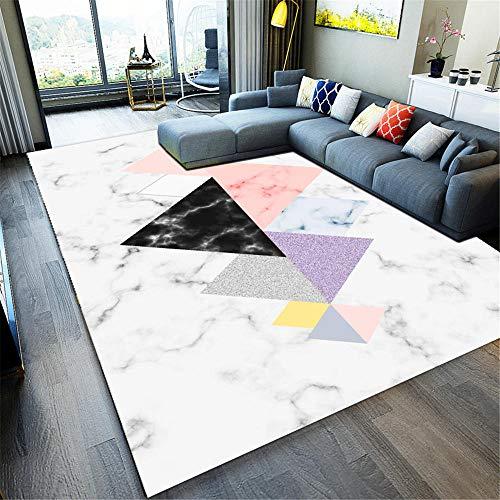 WQ-BBB Teppich Anti-Allergie Teppichboden wohnzimmerteppich rutschfest Langlebig Kaffeetisch Teppichs Marmorierendes geometrisches Dreiecksmuster weiß rosa schwarz lila grau Teppich groß 200X300cm