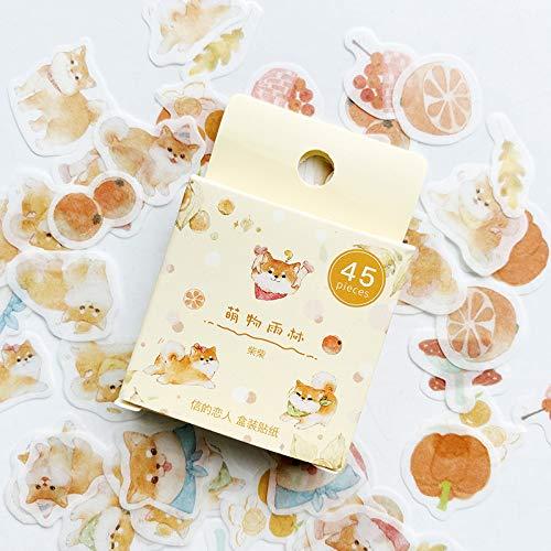 BLOUR 45PCS / Pack Netter Hund Shiba Inu Papieraufkleber Kleber Craft Stick Etikett Notebook Computer DIY Dekor Kinder Geschenk Briefpapier