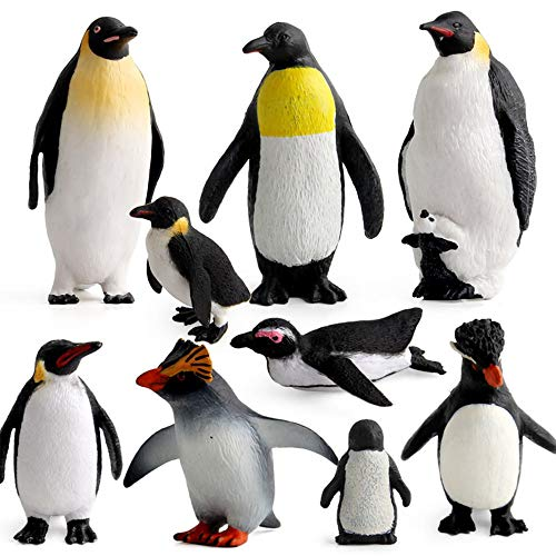 Penguin Figurines Polar Arctic Animal Figures Plastic Penguin Toy Model Set Cake Toppers Ocean Sea Educational Gift School Project Collection for Kids Children Toddlers 9Pcs