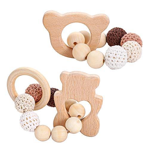 2 pcs Naturale Anello per la dentizione legno di cura Beads Crochet giocattolo di legno Animale Sonaglio giocattoli organici bambini in legno (Marrone)