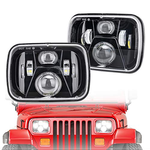 5X7 7X6 LED Headlights Led Sealed Beam Headlamp with High Low Beam H6054 Led Headlight Replacement for Jeep Wrangler YJ Cherokee XJ MJ H5054 6054 6052 Toyota Pickup DOT Approved