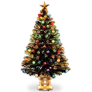 National Tree Company Pre-lit Artificial Christmas Tree | Flocked with Mixed Decorations and Multi-Color Lights | Great for Table Centerpieces, or Other Holiday Décor | Fiber Optic Fireworks – 4 ft