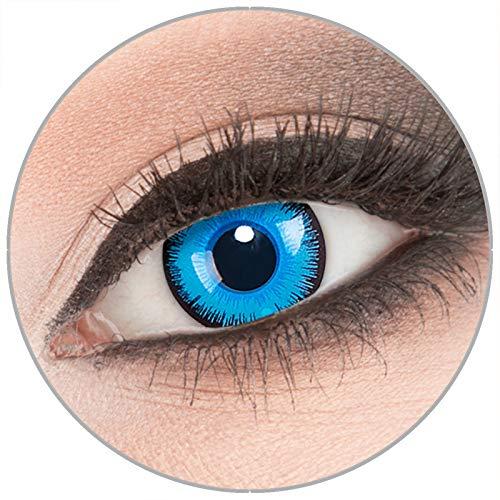 Farbige 'Alper' Kontaktlinsen von 'Evil Lens' zu Fasching Karneval Halloween 1 Paar blaue Crazy Fun Kontaktlinsen mit Kombilösung (60ml) + Behälter in Topqualität ohne Stärke