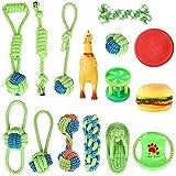 Uponer Hundespielzeug 15 Stück Hundeseile interaktives Spielzeug mit geflochtem Ball aus Baumwolle Zahnreinigung für große mittelere kleine Hunde und Welpen