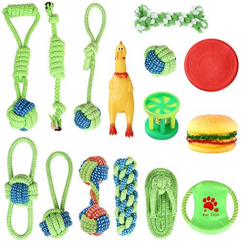 Lot de 15 Jouets Tricot à Pet Rope Chew Toy Jouets Chien Chiot Coton Cordes avec Cordon de Tirage Frisbee Balle Carotte Nettoyage des Dents Jouet Interactif pour Chiots, Moyens et Grands Chiens