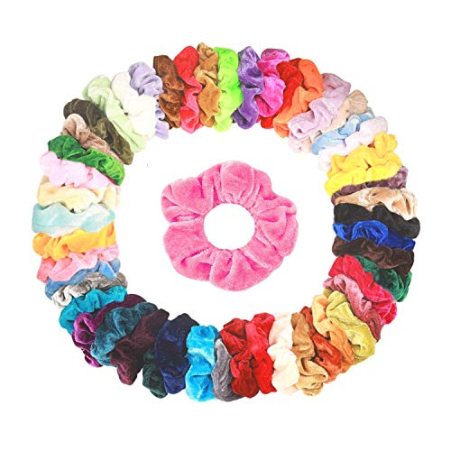 Haargummis Samt Scrunchies Haar Gummibänder Haarbänder Elastischer Bunte Haarschmuck Haarseil für Mädchen Damen Frauen Pferdeschwanz(50 Stück)