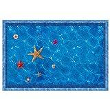 Vektenxi 3D Ocean Flower Pool Sticker Acuario Baño Decorativo Adhesivo de Pared SJ-82022 A Durable y Práctico