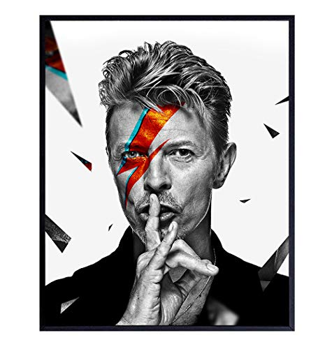 David Bowie Art Print, Wall Art Poster - Great Gift for Ziggy Stardust, 80s and 90s Music Fans - Unique Home Decor for Man Cave, Den, Bar - 8x10 Photo Unframed