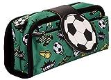 FRINGOO Federmäppchen mit Silikon-Emblem - 2 Reißverschlussfächer - Süße Designs - Viel Stauraum - Für Kinder, Jugendliche & Erwachsene - Für Schule, Uni, Arbeit, Freizeit (Fußball