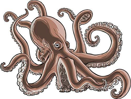 EW Designs Realistic Brown Octopus Squid Cartoon Vinyl Decal Bumper Sticker (8' Wide)