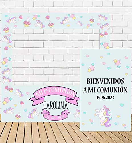 Tu Fiesta Mola Mazo Photocall y Cartel de Comunión Niña Unicornio 100x100cm | Detalles Comunión | Photocall Económico y Original | Divertidas Fotos con Nuestro photocall de comunión para niñas