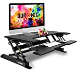 Duronic Sit-Stand Desk DM05D1 [BLACK] | Height Adjustable Office Workstation | 92x56cm Platform | Raises 16.5-41.5cm | PC Computer Screen, Keyboard, Laptop Riser | Ergonomic Desktop Table Converter