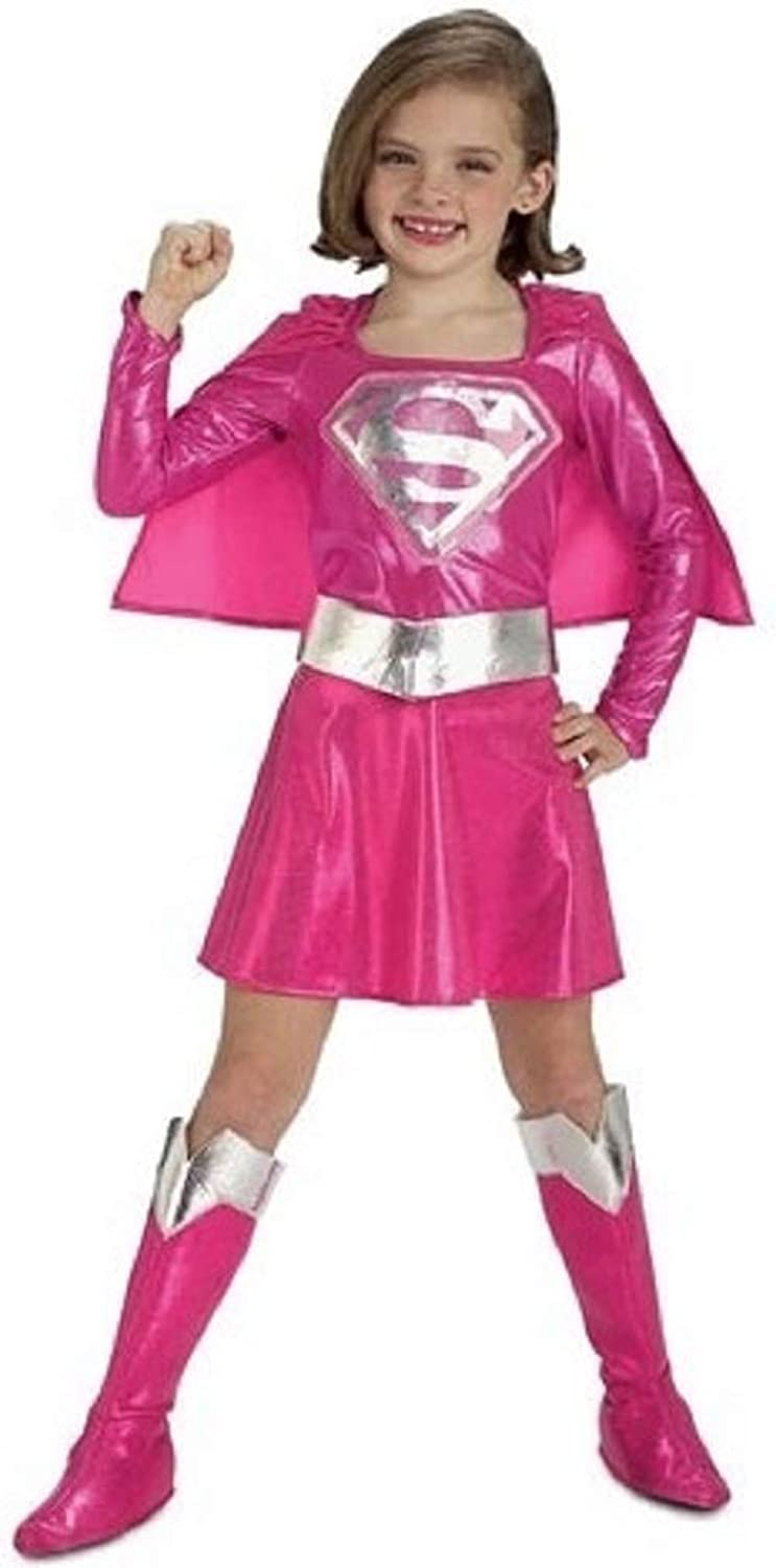 Girls Pink DC Comics Supergirl Superman Super Hero Book Day Fancy Dress Costume Outfit