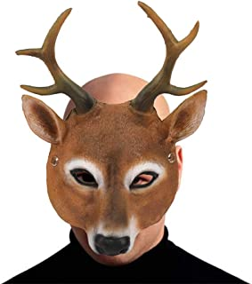 Halloween Mask for Unisex Adult Funny Cosplay Scary Deer Mask Elk Costume Party Ghost House Bar Decor Props Creepy Festival Evangelia.YM (Brown)