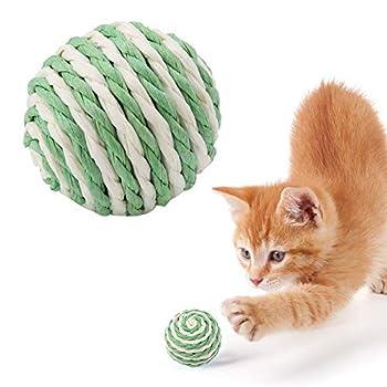 Jouets de balle de chat, 5 pièces Boules de sisal de chat Balles de griffe de meulage non toxiques Jouet mordant Balles à gratter Balle de jouet de chaton écologique faite à la main pour chats Chiens