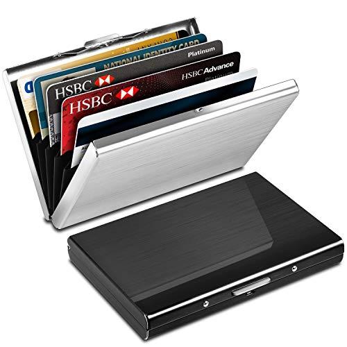 Yosemy Tarjetero para Tarjetas de Crédito, Delgado Billetera de Aluminio con RFID Bloqueo para Tarjetas de Visita, 2 Piezas, Negro + Argent