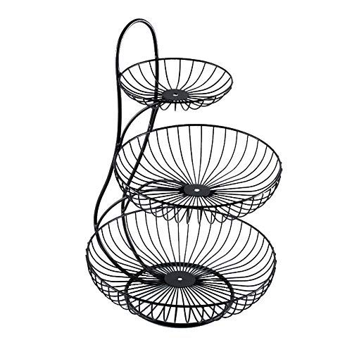 Arched 3 Tier Server Serving Basket Fruit Bowl Snack Display Stand, Wire Basket Three Tier Fruit Basket Stand for Storing & Organizing Vegetables, Eggs, and More