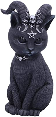 Nemesis Now Pawzuph Horned Occult Cat Figurine, Polyresin, Black and Silver, 11cm