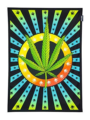 PSYWORK Schwarzlicht Stoffposter Neon Weed Leaf, 0,5x0,7m