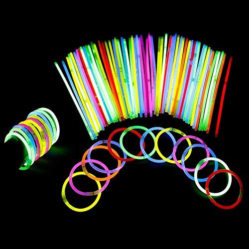 YIQI Bastoncini Luminosi, Confezione da 100 Bastoncini Luminosi da 8 Pollici con connettori per Palline per Braccialetti, Giocattoli Luminosi per Forniture per Feste Luminose (Colori Misti)