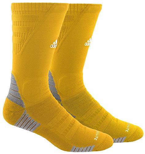 adidas Unisex-US Alphaskin Maximum Cushioned Crew Socks (1-Pair), Gold Sld/White/Light Onix, 9.5-12